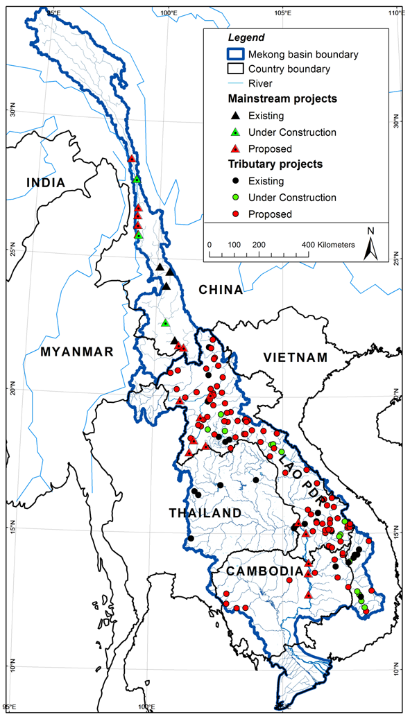Hydroelectric dams in the Mekong River Basin