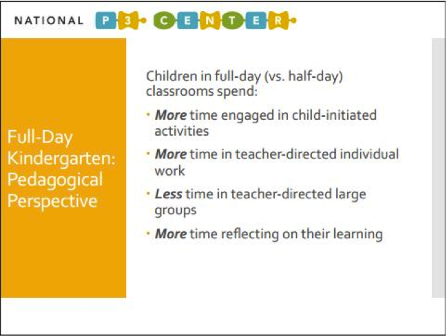 full day kindergarten essay Reviews and critiques research on full- and extended-day, everyday kindergarten programs describes methodological limitations and general weaknesses of the research identifies areas for future research review indicates that the effect of both full- and extended-day kindergarten on basic academic.