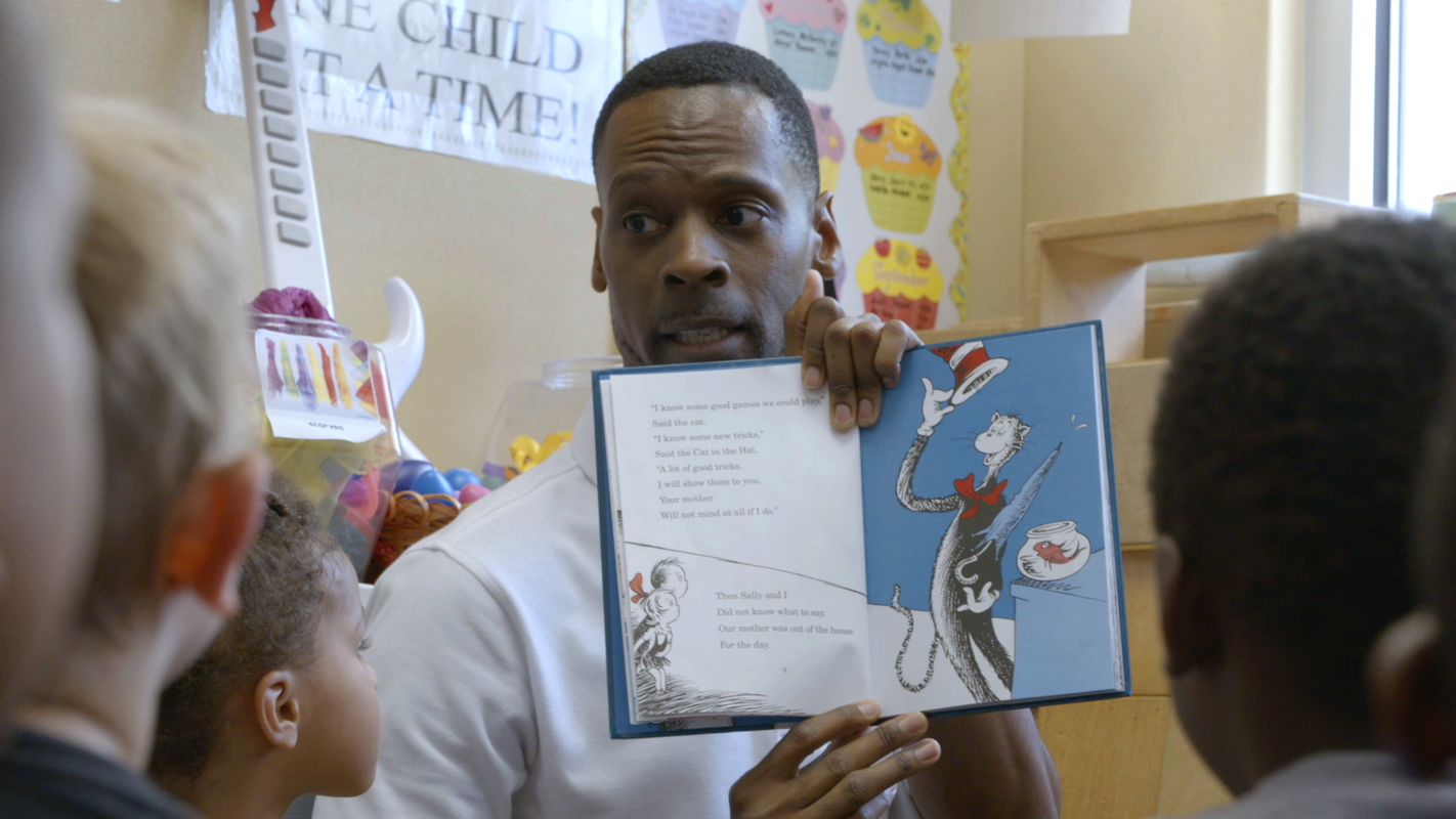 Storytime in the pre-K classroom at Sheltering Arms.