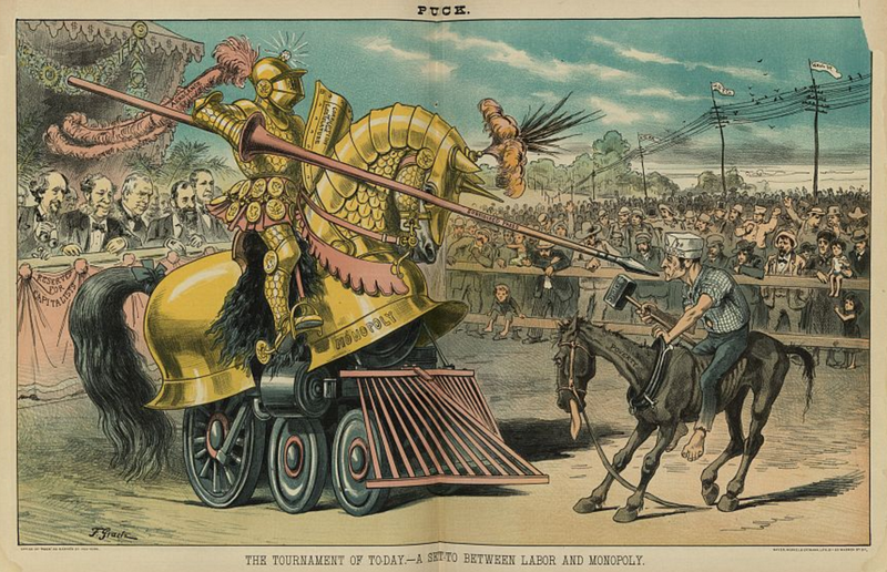 A cartoon opposing monopoly in Puck Magazine (1883)