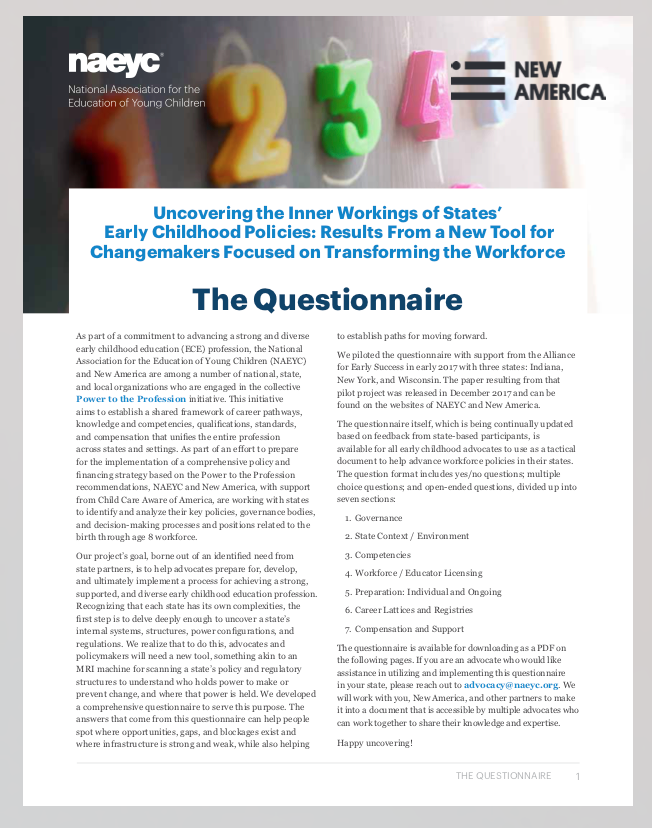 Cover of Questionnaire by NAEYC and New America
