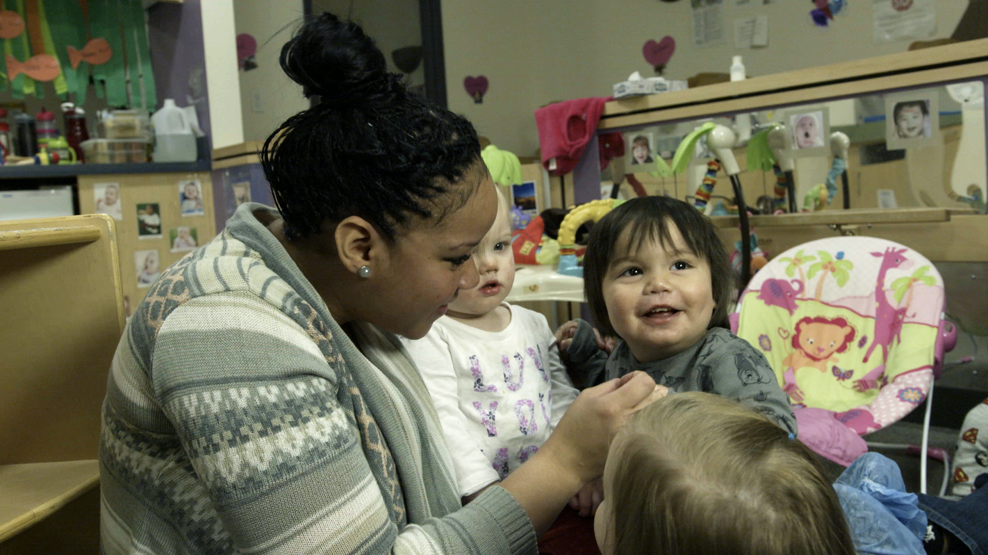 Tiffany Sheets, the lead teacher in one of Ellis Memorial's infant classrooms