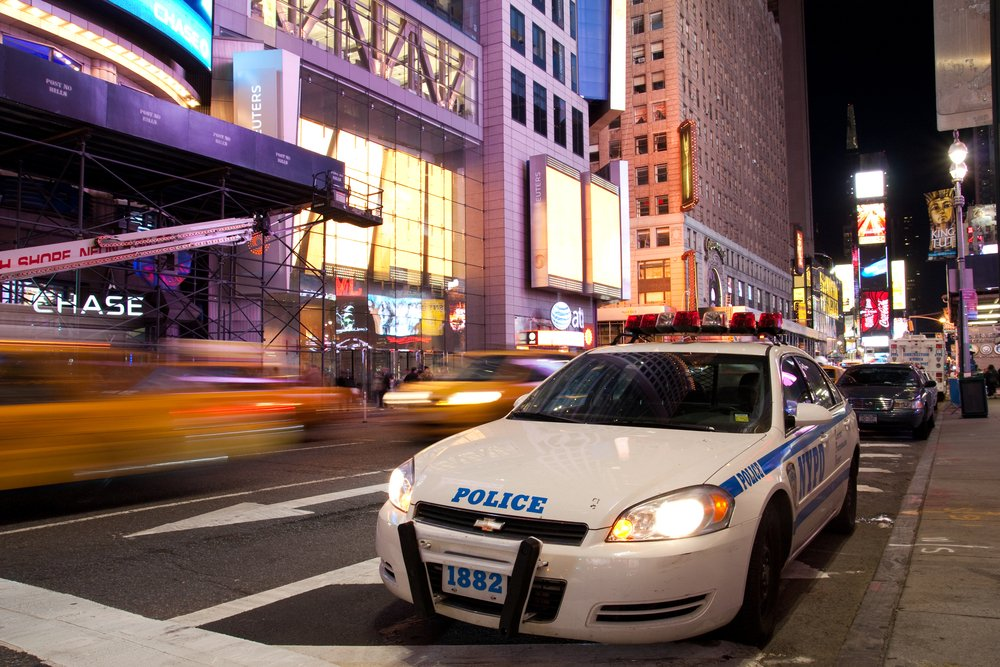 New York Police car is standing by on Times Square New York in the evening after the attempted car bomb incident happened on May 1, 2010. The city has tightened up security.